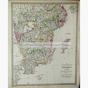 The Southern Provinces Of Sweden 1833 Kittyprint Maps