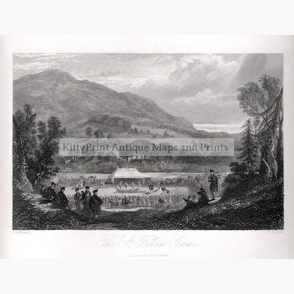 The St. Fillan Games 1840 Prints KittyPrint 1800s Genre Scenes Landscapes Scotland