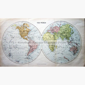 Antique Map, The World, 1860