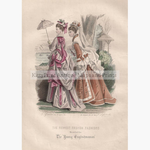 The Newest French Fashion 1874 Prints KittyPrint 1800s Costumes & Fashion