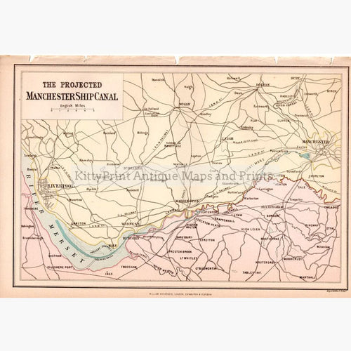 The Projected Manchester Ship Canal 1882 Maps KittyPrint 1800s England Road Rail & Engineering