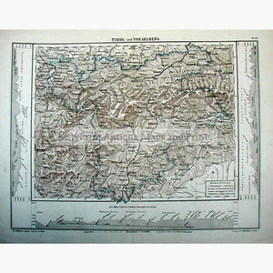 Tirol and Vorarlberg c.1880. Maps KittyPrint 1800s Austria Contour & Relief