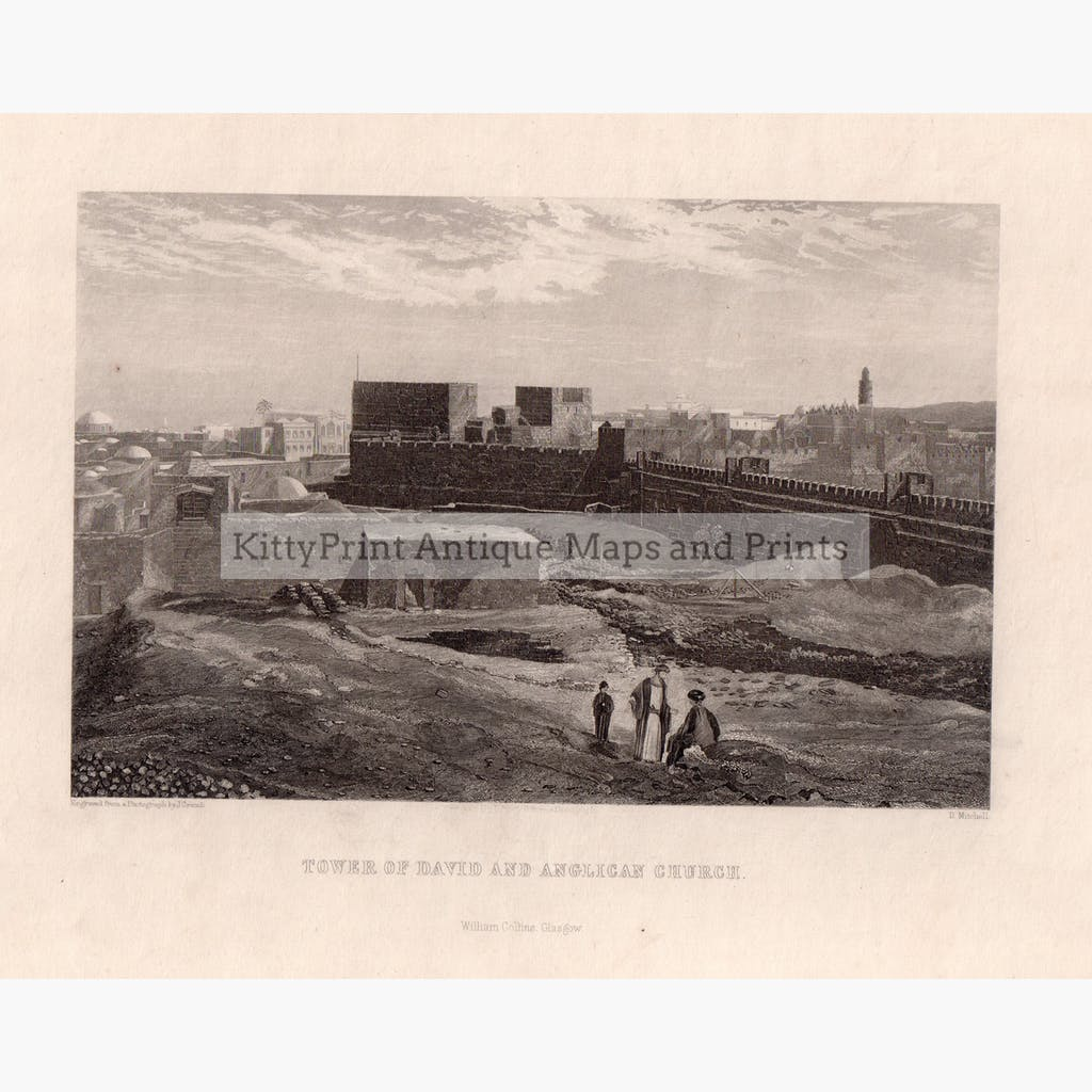 Tower of David and Anglican Church c.1880 Prints KittyPrint 1800s Castles & Historical Buildings Holy Land Religion Townscapes