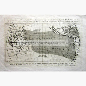 Trade Winds along the South Sea Vents de traverse 1767 Maps KittyPrint 1700s Australia & Oceania Canada & United States Sea Charts World Maps