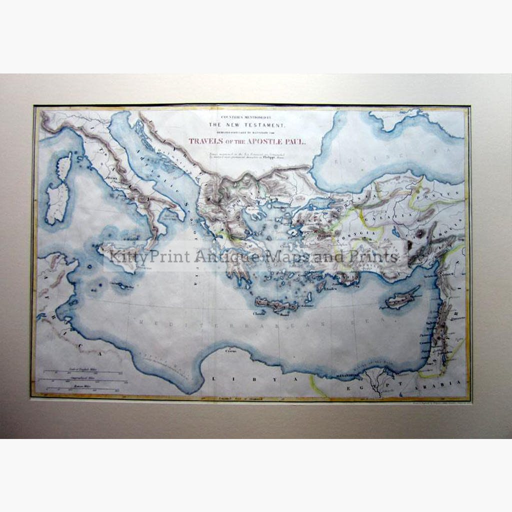 Travels of the Apostle Paul 1840 Maps KittyPrint 1800s Biblical Maps Greece Historical Journeys Holy Land Italy Ottoman Turkey & Persia