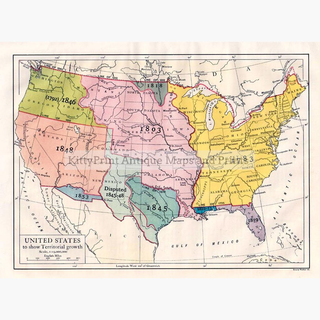 Antique Map, United States to show Territorial growth, 1910 – KittyPrint