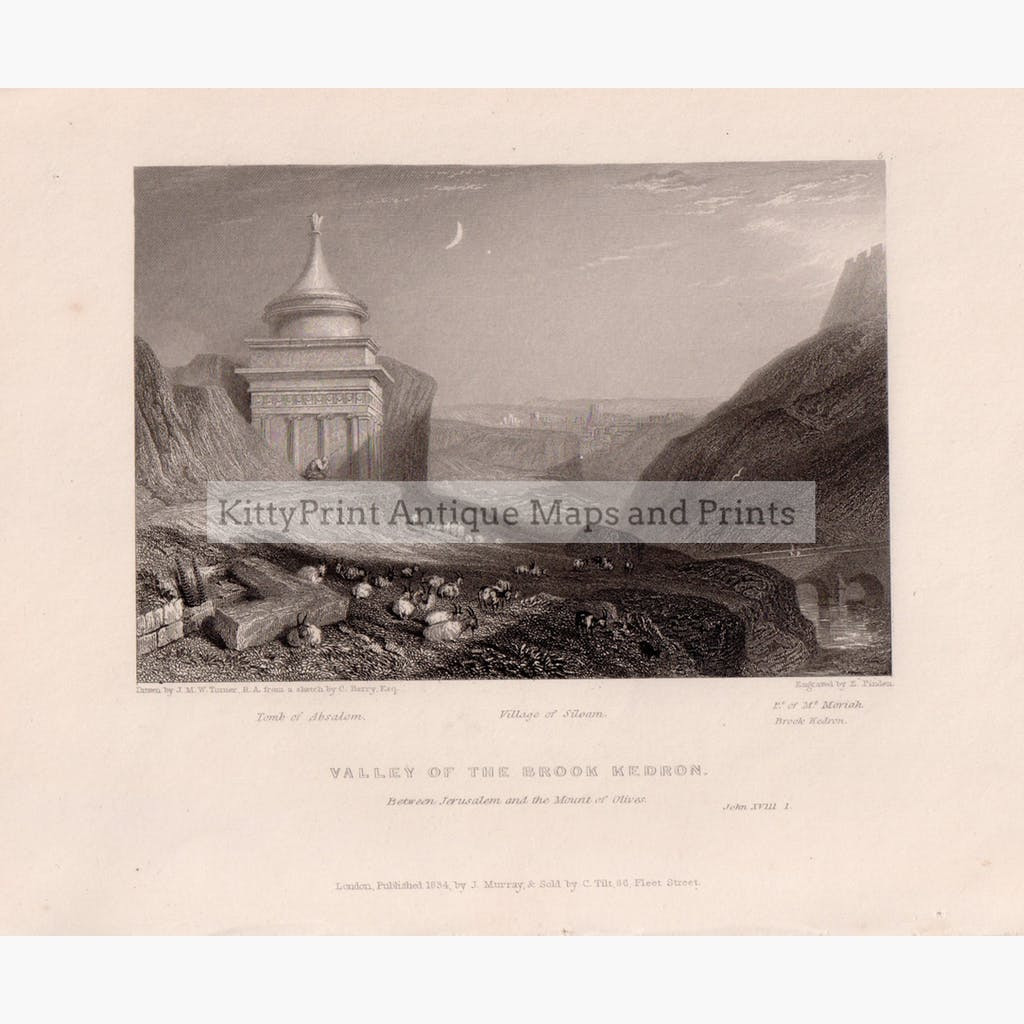 Valley of the Brook Kedron 1834 Prints KittyPrint 1800s Castles & Historical Buildings Holy Land Religion
