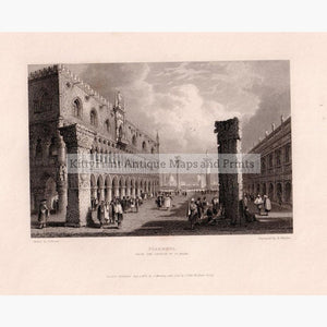 Venice Piazetta 1832 Prints KittyPrint 1800s Castles & Historical Buildings Italy Townscapes
