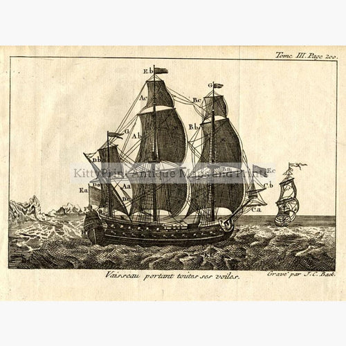 Vessel displaying all her sails Vaisseau portant toutes ses voiles,1797 Prints KittyPrint 1700s Maritime Seascapes Ports & Harbours