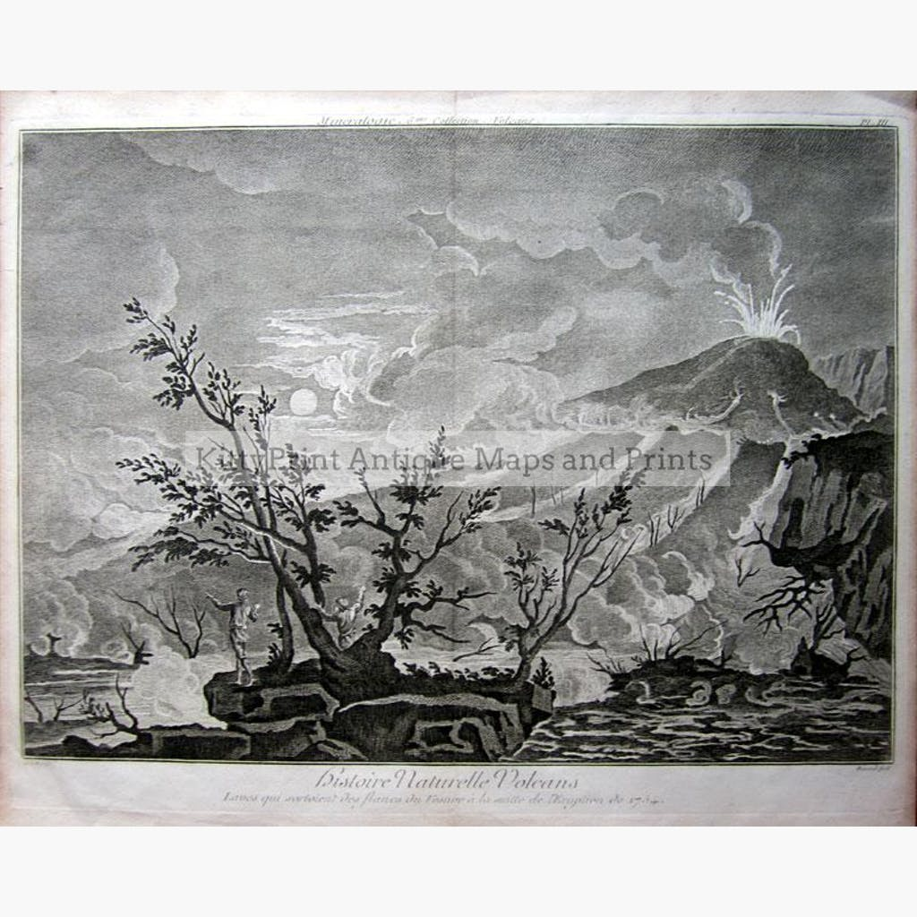 Vesuvius Histoire Naturelle Volcans 1754 Prints KittyPrint 1700s Italy Landscapes