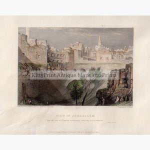 View in Jerusalem near the Gate of St.Stephen 1834 Prints KittyPrint 1800s Castles & Historical Buildings Holy Land Townscapes