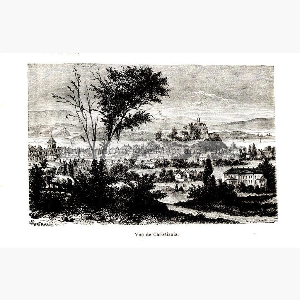 View of Christiania 1876 Prints KittyPrint 1800s Scandinavia & Nordic Countries Townscapes