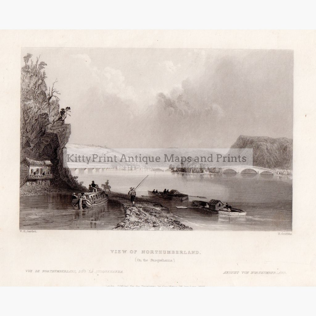 View Of Northumberland On The Susquehanna 1839 Prints