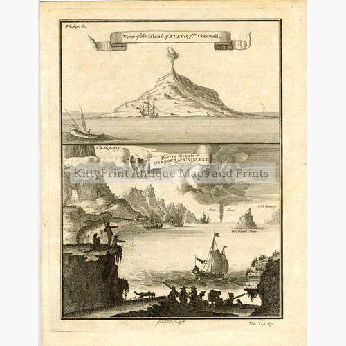 View of the island of Fuego 1752 Prints KittyPrint 1700s Islands Volcanoes