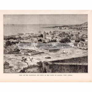 View Of The Roadstead And Town San Paolo De Loanda 1880. Prints