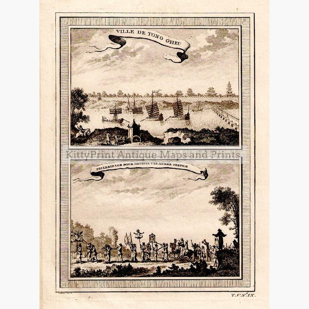 Ville De Tong Cheu 1761 Prints KittyPrint 1700s China Japan & Korea Genre Scenes Religion Seascapes Ports & Harbours