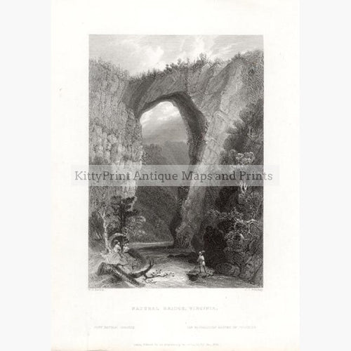 Virginia Natural Bridge 1839 Prints KittyPrint 1800s Canada & United States Castles & Historical Buildings Landscapes