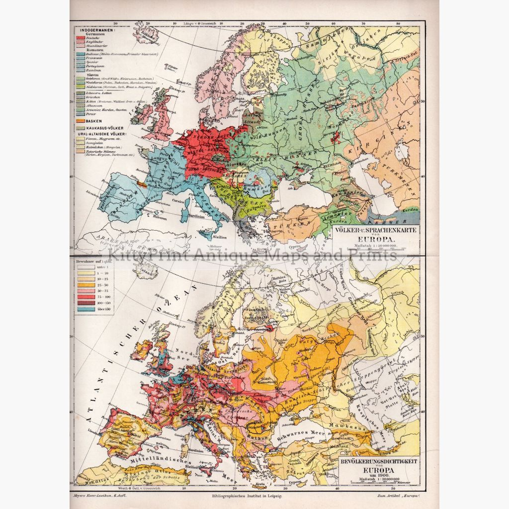 Volker Und Sprachenkarte Europa. Folk And Language Map Europe 1905 Maps