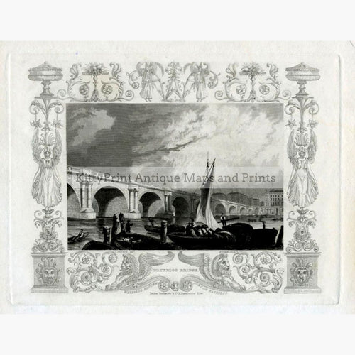 Waterloo Bridge 1843 Prints KittyPrint 1800s Castles & Historical Buildings England