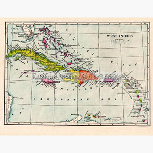 West Indies 1905 Maps KittyPrint 1900s Central & Latin America Islands
