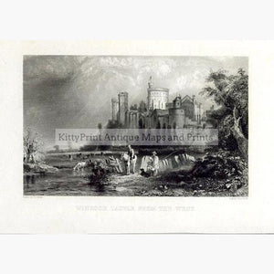 Windsor Castle from the West 1840 Prints KittyPrint 1800s Castles & Historical Buildings England Genre Scenes