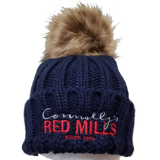 RED MILLS fur pom chunky knit bobble hat in navy - RedMillsStore.ie