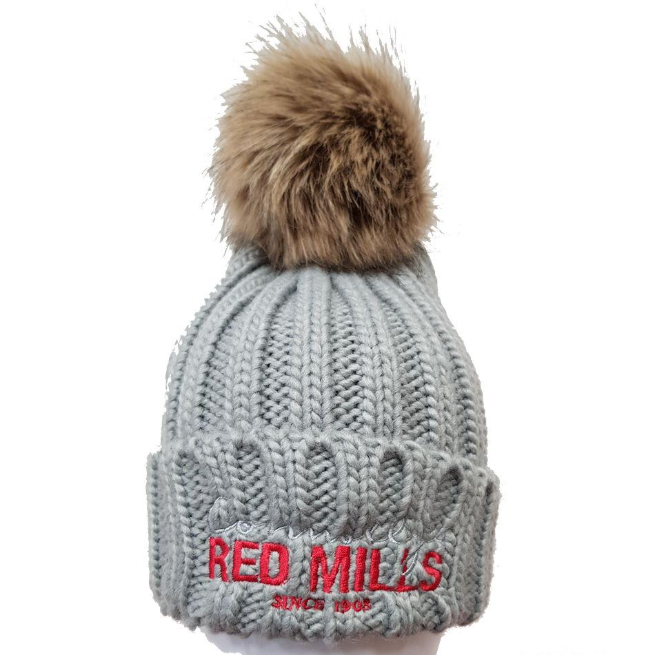 be9254fc063 RED MILLS fur pom chunky knit bobble hat in Grey