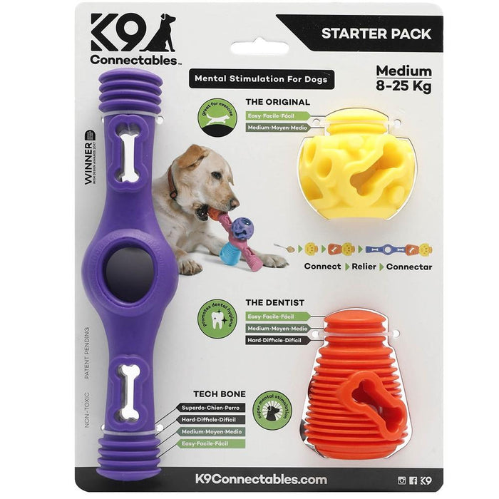 K9 Connectables Medium Starter Pack - Purple, Orange & Yellow