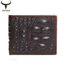 100% TOP cow genuine leather men wallets 2017 men wallet Crocodile embossed purse vintage designer male free shipping