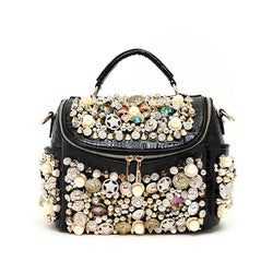 Women Handbag - Pearl-Button Pattern