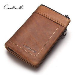 Crazy Horse Leather Men's Wallets Short Design Multi-function Man Purse Zipper Coin Pocket Man Wallet  ID Card Holders