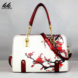Women Leather Handbag - Flower Pattern