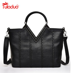 Big Luxury PU Leather Women Messenger / Tote Handbag