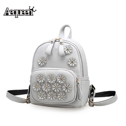 Women Leather Backpacks For Teenage Girls College Student School Bags Travel Pack Sweet Flowers Fashion Book Bag