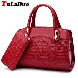 Women Leather Handbag plus Wallet - Alligator Pattern