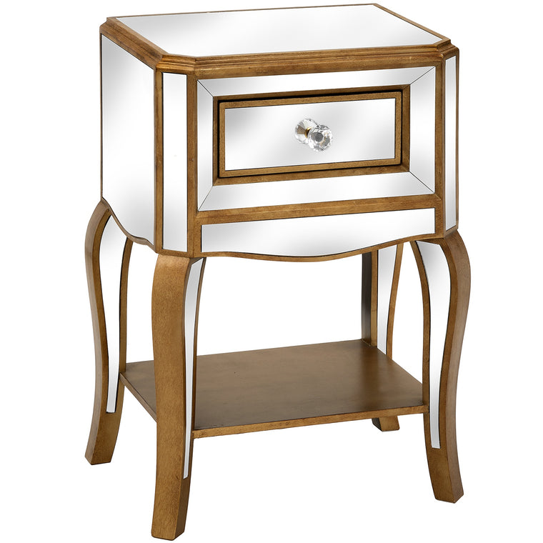 Venetian Mirrored Side Table With Drawer