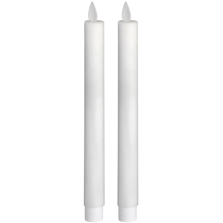 Pair Of White LUXE Flickering Flame LED Wax Dinner Candles