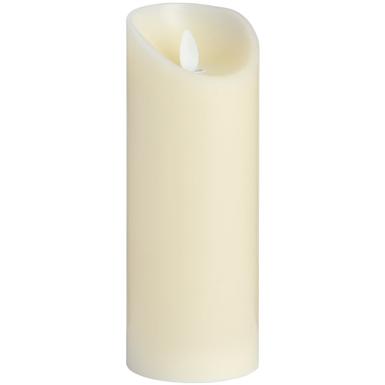 LUXE Collection 3 x 8 Cream Flickering Flame LED Wax Candle