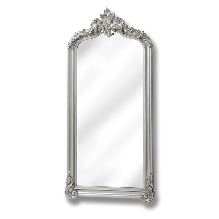Full length Brushed Silver Carved Mirror (PRE-ORDER)
