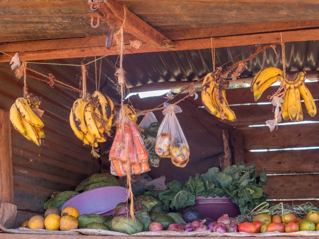 Roadside stands with fresh fruits and vegetables are common, and essential.