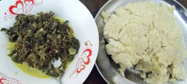 Sukuma-wiki and ugali for lunch.