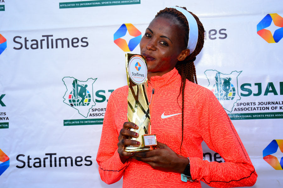 World 3000m steeplechase record holder Beatrice Chepkoech after receiving SJAK StarTimes Sports personality award in 2018