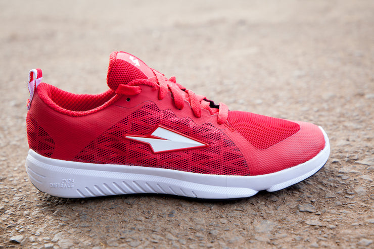 Red running shoe lateral
