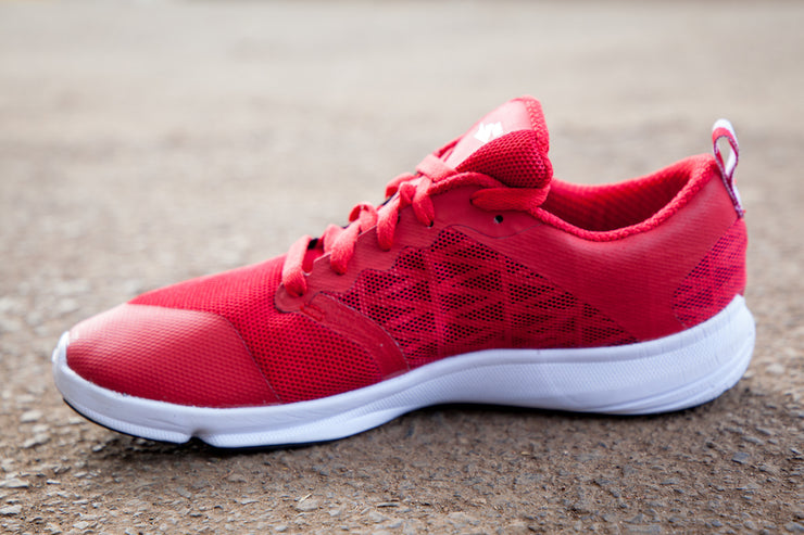 Red running shoe medial