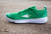 Green running shoes  lateral