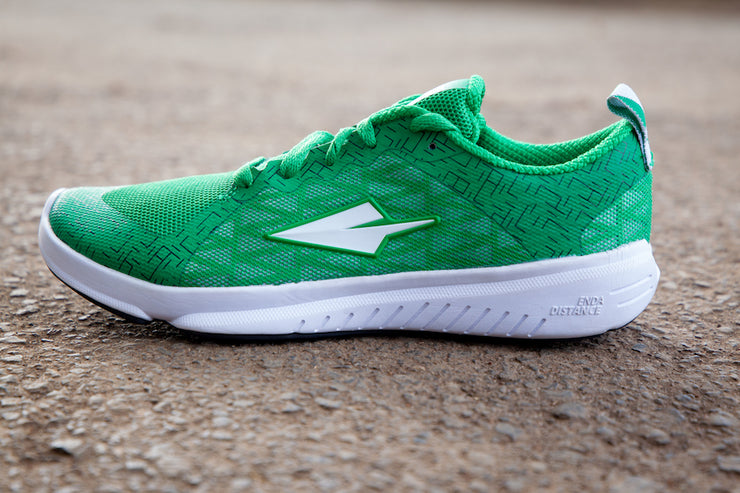 Green running shoe lateral