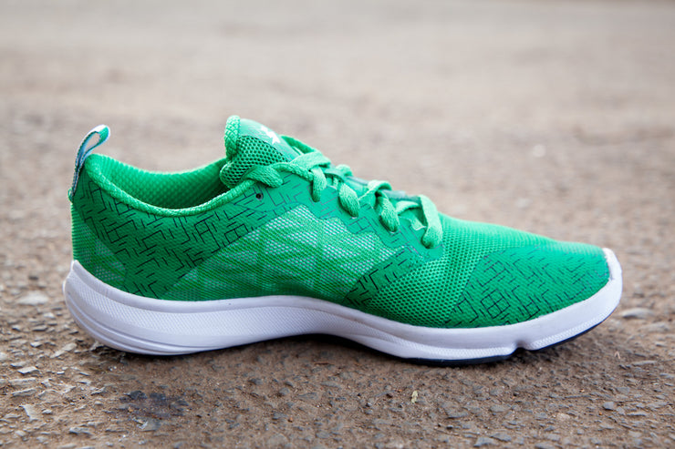 Green running shoe medial