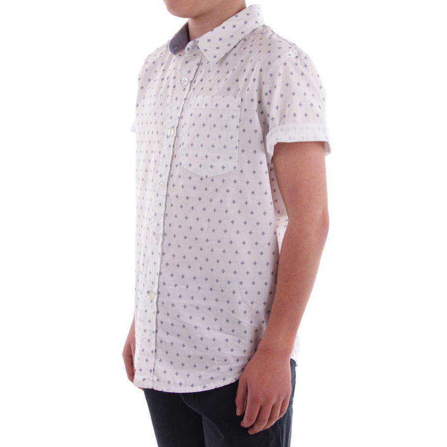 Crest Boy's Collared Shirt/White