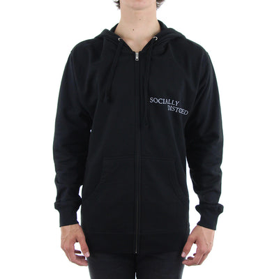 Socially Distorted Zip Fleece Hoodie/Black