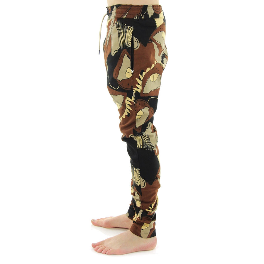 Zepsy All Over Big Mouth Print Pants/Brown/Print